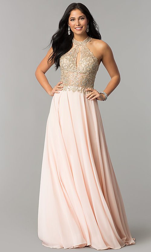 Image of JVNX by Jovani long chiffon prom dress with beading. Style: JO-JVNX60160 Back Image