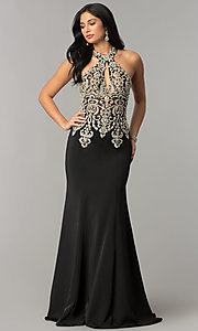 Image of long JVNX by Jovani embellished-bodice prom dress.  Style: JO-JVNX60301 Front Image