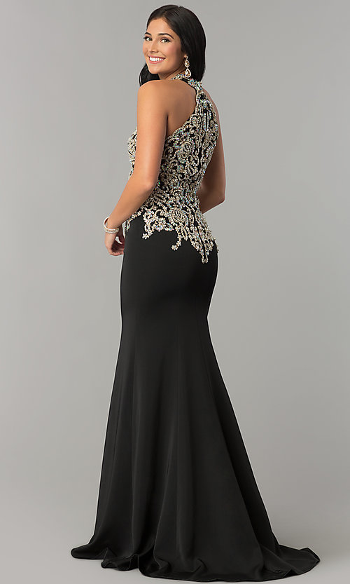 Image of long JVNX by Jovani embellished-bodice prom dress.  Style: JO-JVNX60301 Back Image
