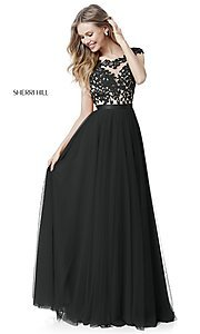 Image of Sherri Hill long prom dress with embroidered bodice. Style: SH-51638 Detail Image 5