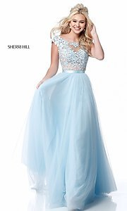 Image of Sherri Hill long prom dress with embroidered bodice. Style: SH-51638 Detail Image 4