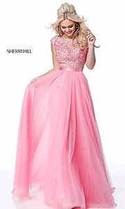 Image of Sherri Hill long prom dress with embroidered bodice. Style: SH-51638 Detail Image 3