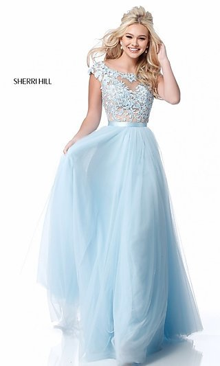 Long Sherri Hill Prom Dress with Embroidered Bodice .