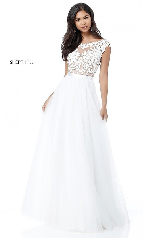 Image of Sherri Hill long prom dress with embroidered bodice. Style: SH-51638 Detail Image 2