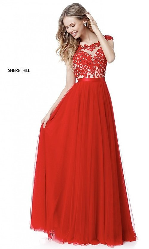Image of Sherri Hill long prom dress with embroidered bodice. Style: SH-51638 Detail Image 1