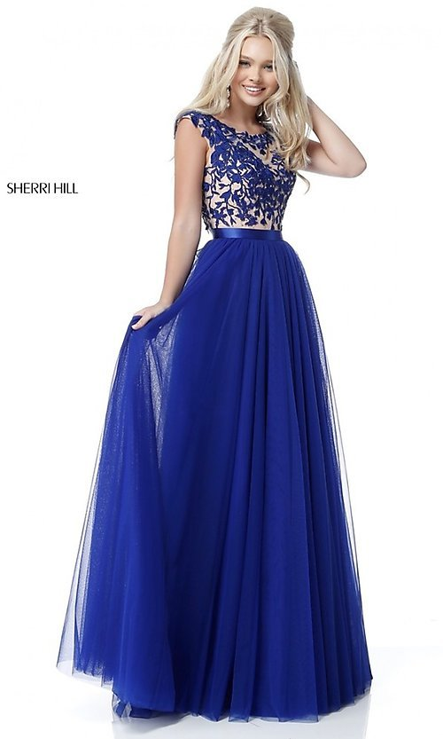 Image of Sherri Hill long prom dress with embroidered bodice. Style: SH-51638 Front Image