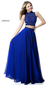Image of beaded-top Sherri Hill long two-piece prom dress. Style: SH-51871 Front Image