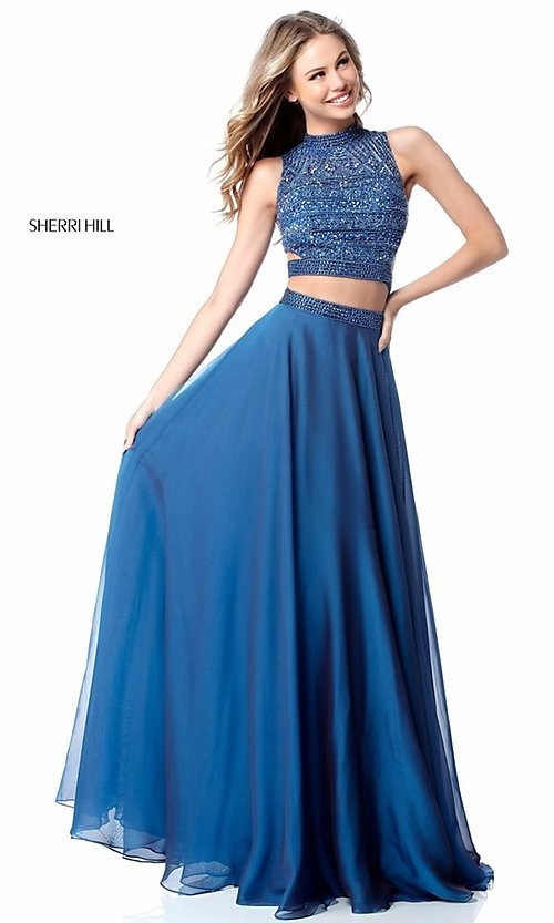 Image of beaded-top Sherri Hill long two-piece prom dress. Style: SH-51871 Detail Image 3