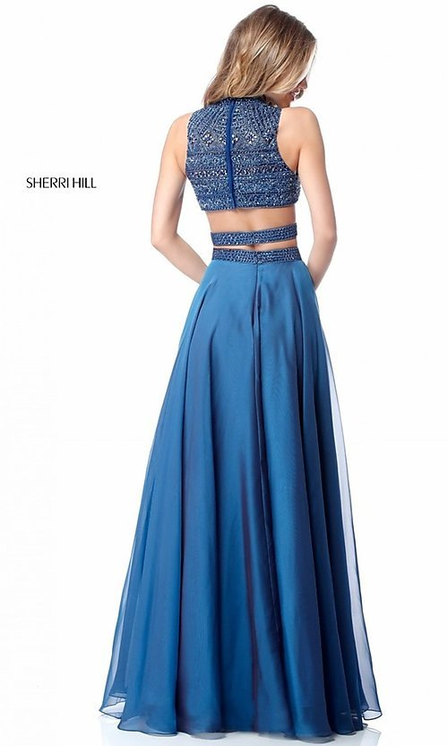 Image of beaded-top Sherri Hill long two-piece prom dress. Style: SH-51871 Back Image