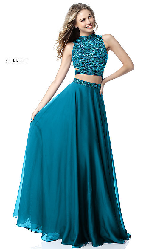 Image of beaded-top Sherri Hill long two-piece prom dress. Style: SH-51871 Detail Image 1