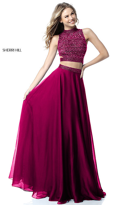 Image of beaded-top Sherri Hill long two-piece prom dress. Style: SH-51871 Detail Image 2