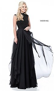 Image of beaded-bodice cut-out Sherri Hill long prom dress. Style: SH-51687 Detail Image 3