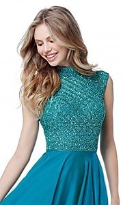 Image of beaded-bodice cut-out Sherri Hill long prom dress. Style: SH-51687 Detail Image 2