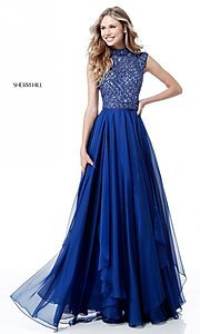 Image of beaded-bodice cut-out Sherri Hill long prom dress. Style: SH-51687 Detail Image 1