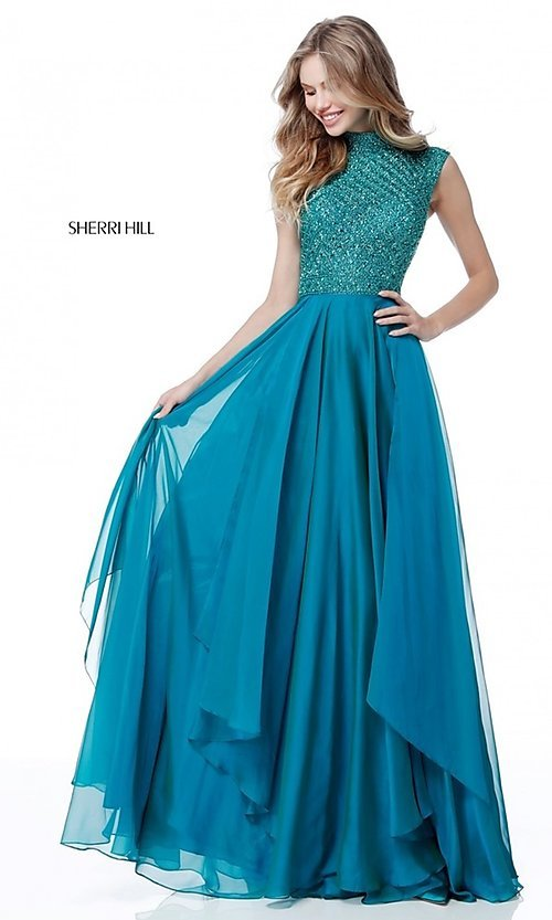 Image of beaded-bodice cut-out Sherri Hill long prom dress. Style: SH-51687 Front Image