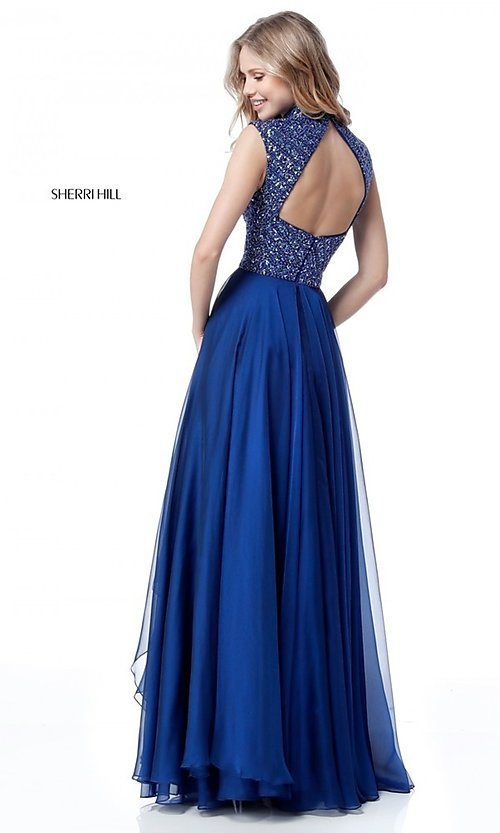 Image of beaded-bodice cut-out Sherri Hill long prom dress. Style: SH-51687 Back Image