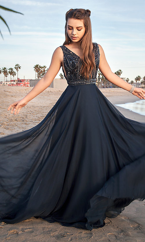 Image of Sherri Hill open-back long prom dress with beading. Style: SH-51874 Front Image