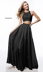 Image of Sherri Hill long two-piece formal dress with pockets. Style: SH-51723 Detail Image 3