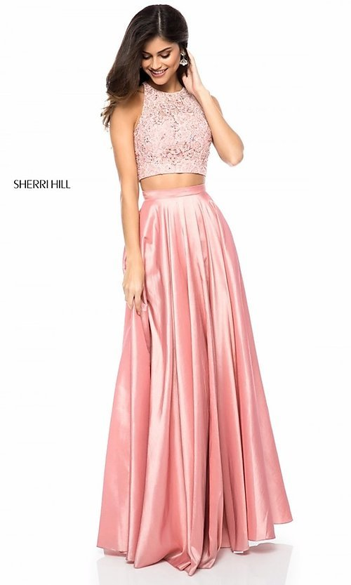Image of Sherri Hill long two-piece formal dress with pockets. Style: SH-51723 Detail Image 1