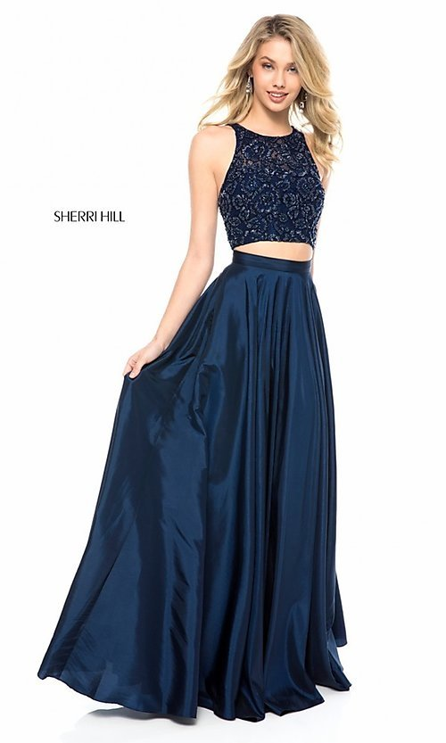 Image of Sherri Hill long two-piece formal dress with pockets. Style: SH-51723 Detail Image 2