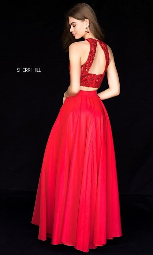 Image of Sherri Hill long two-piece formal dress with pockets. Style: SH-51723 Back Image