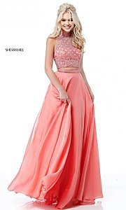 Image of long two-piece Sherri Hill prom dress with beading. Style: SH-51724 Detail Image 2