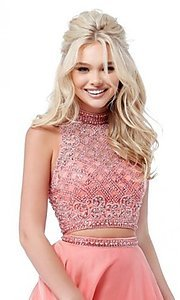 Image of long two-piece Sherri Hill prom dress with beading. Style: SH-51724 Detail Image 3