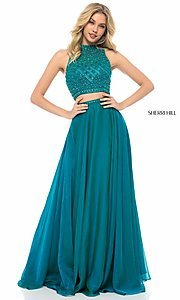 Image of long two-piece Sherri Hill prom dress with beading. Style: SH-51724 Detail Image 1