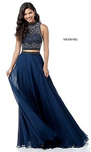 Image of long two-piece Sherri Hill prom dress with beading. Style: SH-51724 Front Image