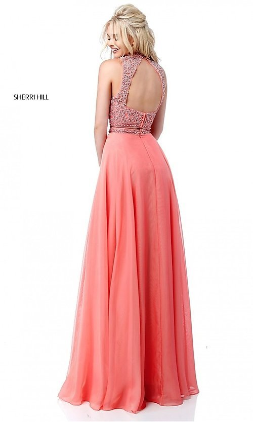 Image of long two-piece Sherri Hill prom dress with beading. Style: SH-51724 Back Image
