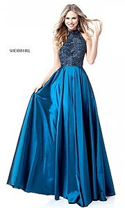 Image of long Sherri Hill t-back prom dress with beading. Style: SH-51690 Front Image