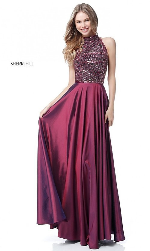 Image of long Sherri Hill t-back prom dress with beading. Style: SH-51690 Detail Image 1