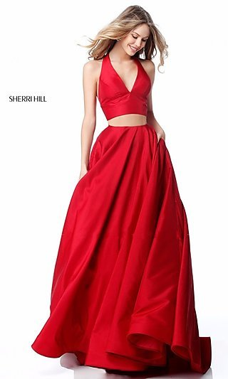 Sherri Hill V-Neck Two-Piece Dress