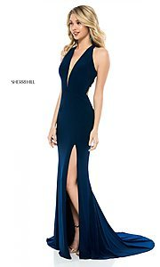 Image of back-cut-out long formal prom dress by Sherri Hill.  Style: SH-51806 Front Image