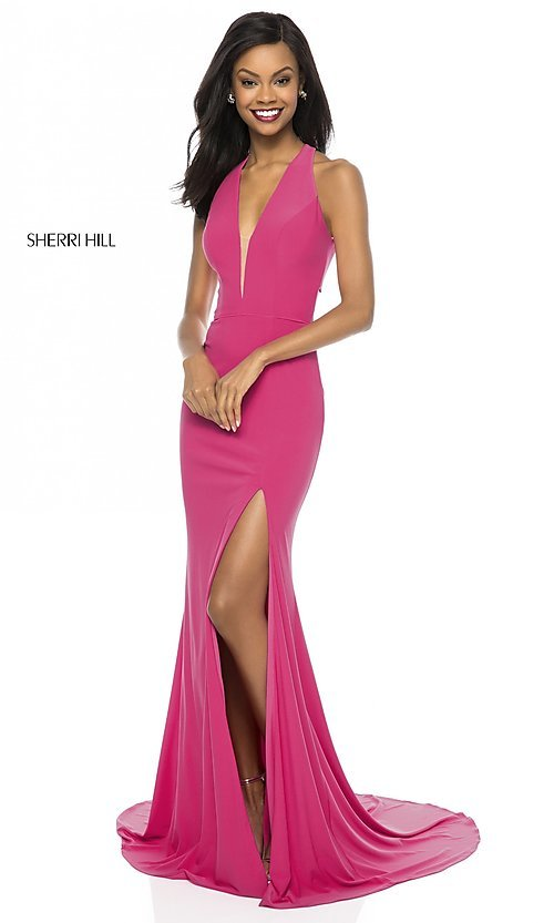 Image of back-cut-out long formal prom dress by Sherri Hill.  Style: SH-51806 Detail Image 2