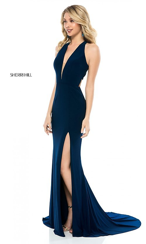 Sherri Hill Back-Cut-Out Long Formal Prom Dress