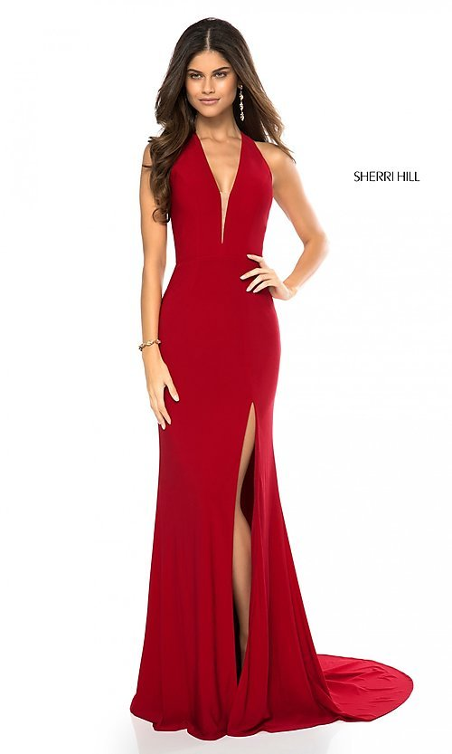 Image of back-cut-out long formal prom dress by Sherri Hill.  Style: SH-51806 Detail Image 3