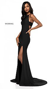 Image of Sherri Hill long formal prom dress with cut outs. Style: SH-51947 Detail Image 3