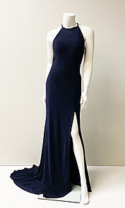 Image of long formal prom dress with side cut outs. Style: SH-51947 Detail Image 1