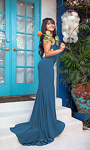 Image of long formal prom dress with side cut outs. Style: SH-51947 Front Image