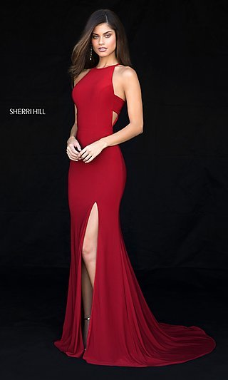 Sherri Hill Long Formal Prom Dress with Cut Outs