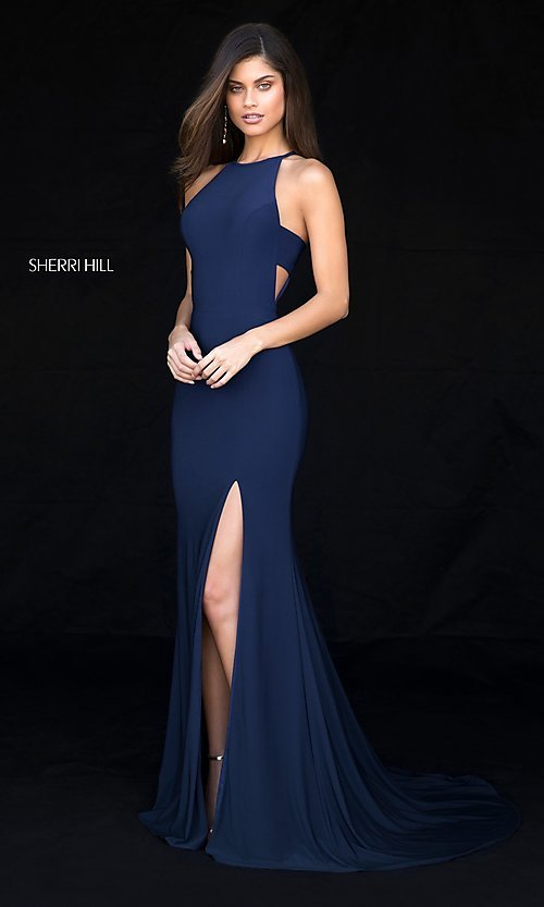 Image of Sherri Hill long formal prom dress with cut outs. Style: SH-51947 Detail Image 2