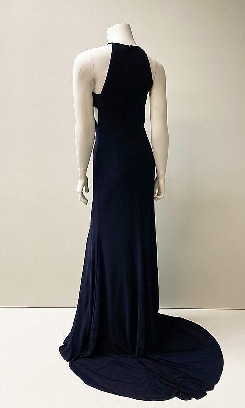 Image of long formal prom dress with side cut outs. Style: SH-51947 Back Image