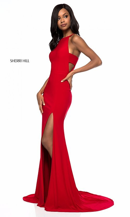 Image of Sherri Hill long formal prom dress with cut outs. Style: SH-51947 Detail Image 1