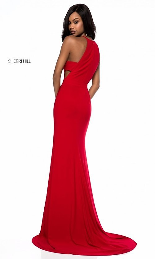 Image of Sherri Hill long formal prom dress with cut outs. Style: SH-51947 Back Image