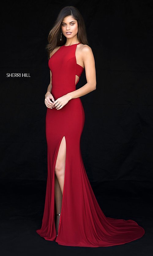 Image of Sherri Hill long formal prom dress with cut outs. Style: SH-51947 Front Image