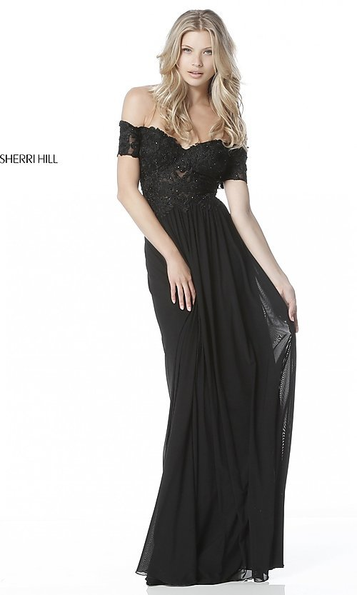 Image of Sherri Hill off-the-shoulder formal long prom dress. Style: SH-51556 Front Image