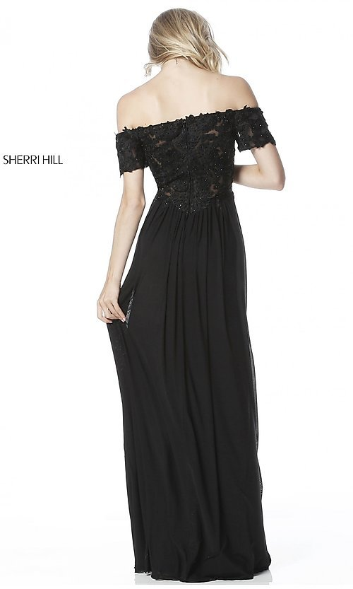 Image of Sherri Hill off-the-shoulder formal long prom dress. Style: SH-51556 Back Image