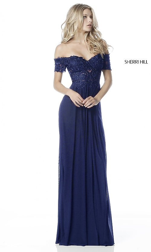 Image of Sherri Hill off-the-shoulder formal long prom dress. Style: SH-51556 Detail Image 2