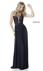 Image of Sherri Hill halter long prom dress with embroidery. Style: SH-51553 Front Image